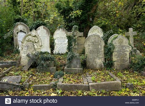 Old tombstones in Highgate Cemetery, London, England, UK