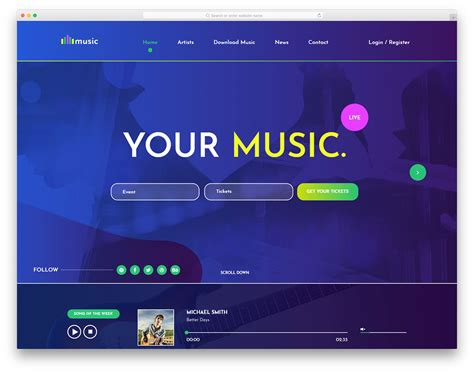 Music - Free Mobile-Ready Music Website Template 2019