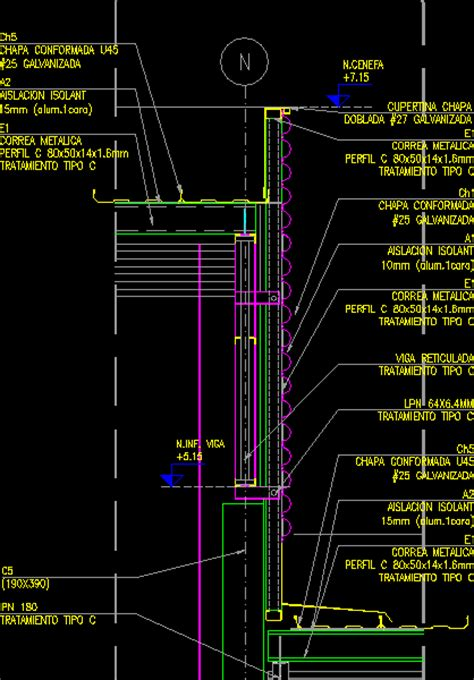 Facade Section – Corrugated Metal DWG Section for AutoCAD