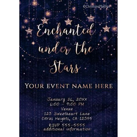 Image result for under the stars invitation blue and gold