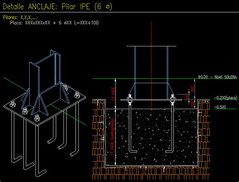 Metal Joinery- Column Anchorage DWG Block for AutoCAD