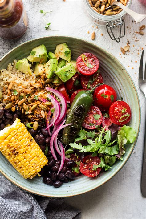 Mexican lunch bowl with spicy crumb - Lazy Cat Kitchen